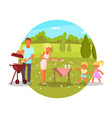 family bbq mom dad kids vector image vector image