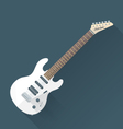 flat style white electric guitar vector image vector image