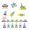 Flying Saucer and Rocket Game Set vector image vector image