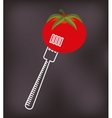 fork with vegetable icon vector image