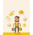 Funny businessman with shopping bags vector image
