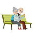 grandparents on the bench vector image