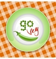 Green plate with vegetable inscription vector image vector image