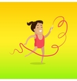Gymnast with Ribbon in Flat Design vector image