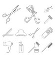 hairdresser and tools outline icons in set vector image vector image