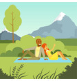 happy couple lying on the lawn in the park vector image vector image
