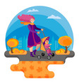 happy young mother is walking with baby vector image vector image