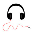 headphones with curl red cord plug black vector image