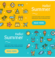 hello summer banner horizontal set vector image