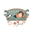 Lazy sleeping girl with cat vector image vector image