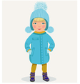 little girl in winter clothes vector image