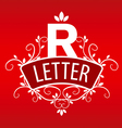 Logo letter R with a vegetative ornament on a red vector image