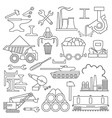 Metallurgy icon set Thin line icon design vector image