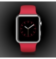 Modern shiny smart watch with red sport band vector image