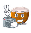 photographer cartoon beverage coconuts on the vector image