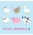 pixel art style farm animals cartoon set 1 vector image vector image