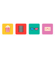 popcorn box 3d glasses ticket film movie cinema vector image vector image