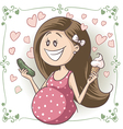 Pregnant Woman Craving Ice Cream and Pickle vector image