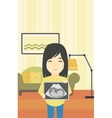 pregnant woman with ultrasound image vector image vector image