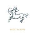 sagittarius zodiac symbolhand drawn in engraving vector image vector image