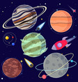 set cartoon planets and space elements vector image vector image