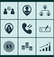set of 9 management icons includes business goal vector image vector image