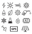 set of power and energy system in linear icons vector image vector image