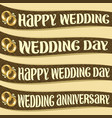 set of ribbons with wedding wishes vector image vector image
