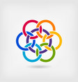 seven interlocked circles in rainbow colors vector image