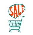 Shopping cart with handdrawn sale vector image