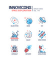 space exploration - line design style icons set vector image vector image