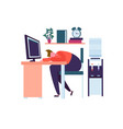 tired business character sleeping in office vector image vector image