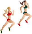two women athletes runners vector image