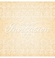 Beige floral ornament wedding invitation card vector image