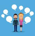 couple social media bubble speech vector image