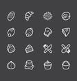 bakery popular white icon set on black background vector image