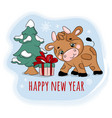 2021 bull found a gift new year cartoon vector image