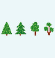 8 bit fir tree set pixel christmas tree isolated vector image vector image