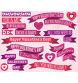 A set of ribbon valentines design vector image