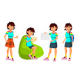 asian teen girl poses set leisure smile vector image vector image
