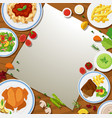 border template with different food in the plates vector image vector image