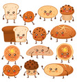bread characters funny bakery food faces icons vector image vector image