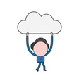 businessman character walking and carrying cloud vector image