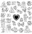 cartoon valentines characters large set vector image vector image