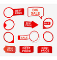 Collection red paper labels in the form of vector image