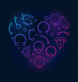 colorful heart shape made of piercing creative vector image vector image
