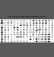 contact and web interface icons vector image vector image