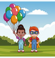 cute kids with balloons vector image vector image