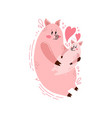 cute postcard happy family with a picture of a pig vector image vector image