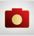 digital camera sign red icon on gold vector image vector image